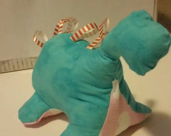 Turquoise Baby Dinosaur Taggie Toy