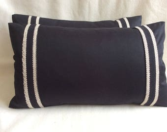 Two Black Linen Lumbar Designer Pillow Covers - Black/ Cream Decorative Trim - 12x20 Covers