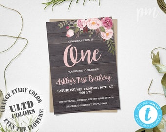 Floral 1st Birthday Invitation, Girl Birthday Invite, Pink Floral Birthday Invitation, 1st Birthday Invite, Floral Girls Birthday Invitation