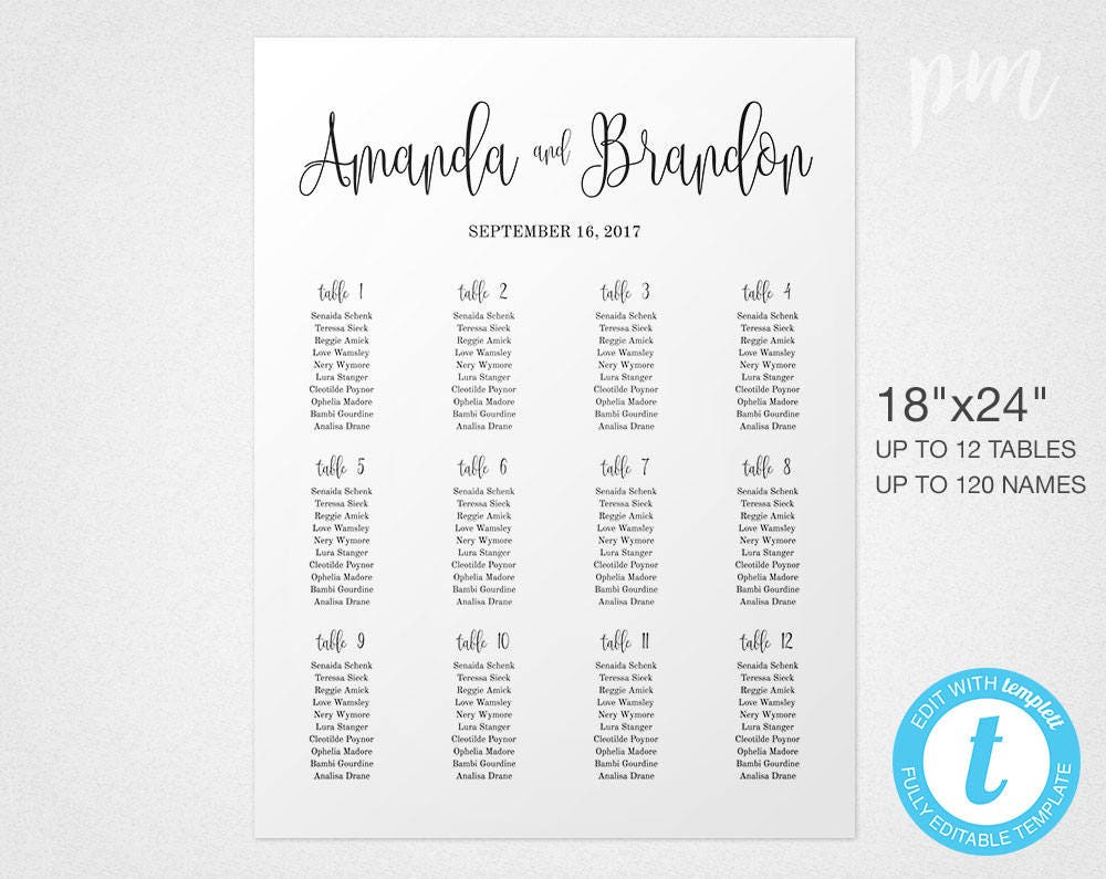 Script Wedding Seating Chart Sign Template, Wedding Seating Sign ...
