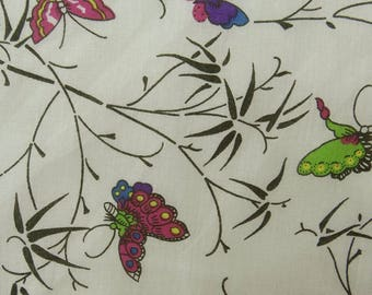 """Butterfly Print, Cotton Fabric, Indian Dressmaking Fabric, Sewing Crafts, 42"""" Inch Quilting Fabric By The Yard ZBC8913A"""
