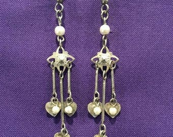 """summer17 Faux Pearl and Metal fishwire Earrings - 2"""" drop - CA 1960's - #1631601"""