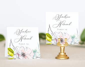 Name Card Wedding Watercolor Floral - Floral Place Card Wedding - Wedding Place Card Printable - Wedding Seating Card - Printable Name Cards