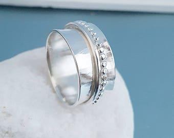 Sterling Silver Spinner Ring, Spinning ring hammered beaded, flared 925 meditation spin ring, worry jewellery, fidget ring handmade UK