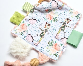 Spring Rain Fox Luxe Sensory Toy-Smooth Minky + Light Coral Faux Fur-Organic Maplewood Teethers-Crinkle Material