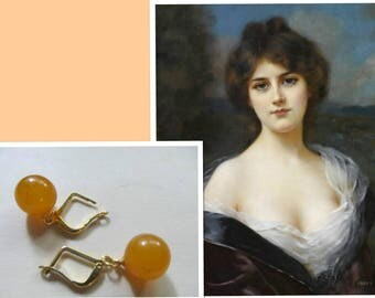 Amber Earrings round beads Natural Baltic 3.1 g. yellow egg yolk butterscotch opaque polished gold color french clasp adult teens