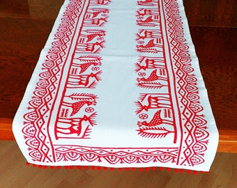 Red Hand Block Printed Ivory Table Runner Pom-Poms Ethnic Anatolian Deer Phoenix Motifs Ottoman Turkish Traditional Cotton