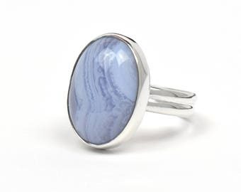 Blue Lace Agate Ring - Blue Lace Agate Jewelry Statement Ring - Sterling Silver Rings for Women - Agate Blue Lace - Gemstone Ring