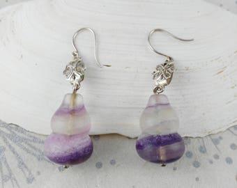 Purple Drop Earrings - Gemstone Earrings - Gift for Her Woman - Festival Earrings - Anniversary Gift - Minimalist Earrings