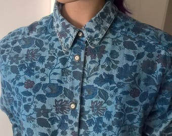 80s 90s floral chambray l/s shirt size 10-12