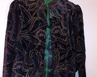Vintage 80s velvet cropped jacket floral Paisley by Jeri Marque sz medium to large