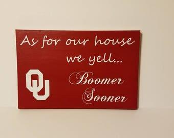 OU wood sign, Boomer Sooner, Oklahoma University Home Decor, Oklahoma Sooner Sign, Man cave decor, gallery wall decor, Oklahoma sign