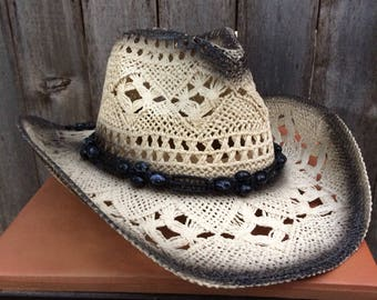 Black and White Straw Cowboy Hat Vintage Look with Black Beaded Hatband.