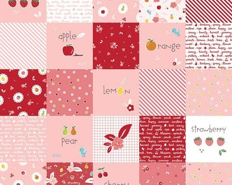 SALE Sweet Orchard Main Designer Cloth Pink - Riley Blake Designs - Squares Fruit Red - Quilting Cotton Fabric - choose your cut