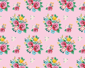 Happiness is Handmade Main Pink - Riley Blake Designs - Floral Flowers - Quilting Cotton Fabric - choose your cut