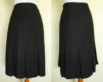 1940s/1950s Skirt- Black Felt Wool- Pleated