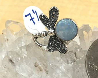 Opal Dragonfly Ring Size 7 1/2