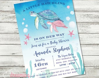 Sea Turtle Baby Shower Invitation - Boy or Girl or Gender Neutral Available!