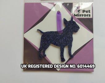 Glitter acrylic Miniature Bull Terrier Christmas decoration - 9 colour choices