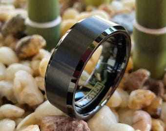 Tungsten Ring, Men's Tungsten Wedding Band, Men's Black Wedding Band, Black Tungsten Ring, Tungsten, Tungsten Band, Personalized Ring