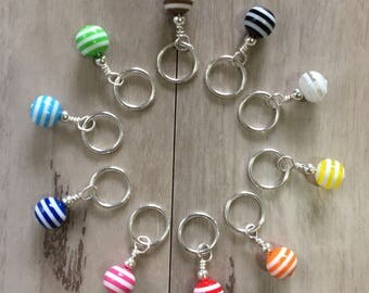 Handmade Stitch Markers for Knitting - Rainbow Beads Set of 10