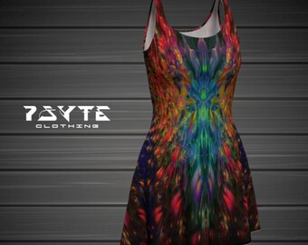 festival dress, Rainbow dress, flare dress, fractal dress, Hippie dress, Music festival clothing, Skate dress, Psychedelic dress, Dance