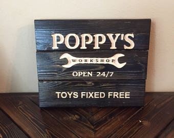 Carved Poppy's Workshop - Father's Day Gift - Grandfather's Gift - FREE SHIPPING in the USA