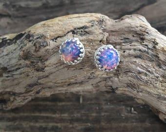 Sterling silver and multicoloured  fire opalite filigree bezel set  stud earrings 10mm .