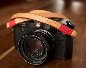 Bronkey - Tokyo #1 - Tanned & Red - Leather Camera Strap for mirrorless, Nikon, Leica, Fuji X serie, 35mm, Olympus, DSLR, vintage, etc.