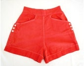 Vintage 50s High Waisted Shorts/ 1950s Red Canvas Pin Up Shorts/ VLV Rockabilly Nautical Women's Shorts/ Soft Sailcloth w/ Front Pockets