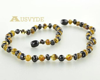 Baltic amber necklace Black green color Baroque beads, 41 cm or 16,1 inch, each knotted, Polished Amber, Baltic amber, 5768