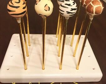 Safari themed cake pops/ animal print/ jungle borhday party