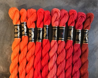 DMC Pearl Cotton #3, 1.00 each, Orange Color Pack, Needlepoint Threads, Crewel, Embroidery, Perle Cotton, Sale