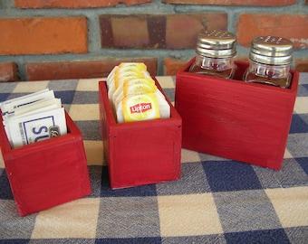 Table Organizer Set - Salt and Pepper Shaker, Tea Bag Caddy, Sugar Packet Holder - Red - Kitchen, Dining, Restaurant, Bar