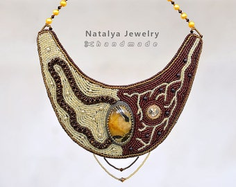 "Bib necklace ""Fruit of Temptation"" with simbircite natural stone"