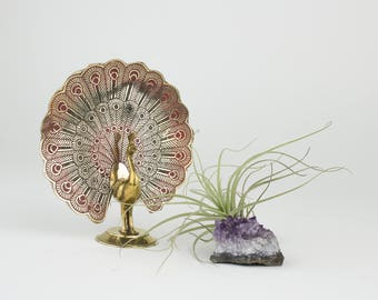 Vintage Brass Peacock Figurine - Hand Painted Enamel - Bohemian - Sacred Space Decor - Meditation Room