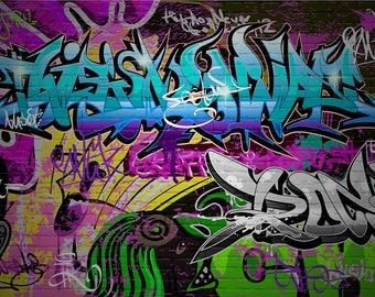 graffiti Backdrop - dark graffito, colored colorful painted brick wall - Printed Fabric Photography Background W1262