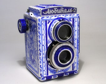 Lubitel-2 LOMO Russian TLR  camera.New design. Stylized as Gzhel. Hand made. EX!