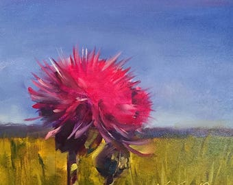 thistle // pink thistle // thistle painting // flower art // flower painting // original art // flower bouquet art // original art