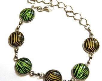 Bracelet, Zebra, adjustable, silver plated