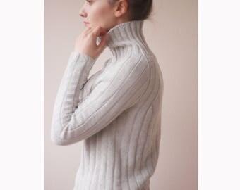 Knitted sweater | Grey sweater | Cotton sweater | Bohemian sweater | Long raglan sleeves sweater | Knit sweater | Soft sweater |