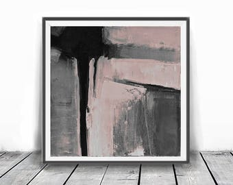 Print abstract, rose and gray, black contemporary art, modern art, scandinavian abstract, 12x12, Gray Print, Scandinavian Design, Pink