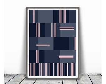 Office decor, Navy blue and pink, Large Wall Art, Modern Painting, Modern Geometric, Modern Art, Abstract Art, lines abstract,