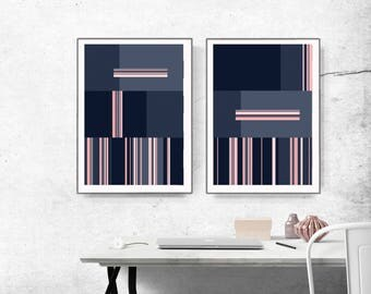 Set of 2 Prints, Abstract Art , Printable Abstract Art, blue and Pink, instant download Art, Pink Art set, geometric abstract, lines art
