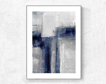 Digitat  abstract, contemporary art, modern art, scandinavian abstract, PRINTABLE , grey and navy blue, blue abstract, Minimalist Art