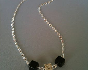 The Choker cubic onyx and silver metal