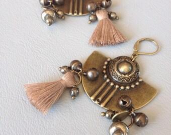 Ethnic earrings, bronze, pyrite, bells and coffee beige tassel, creating Leamorphoses