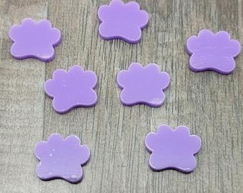 12mm Light Purple Paw Prints Laser Cut Acrylic Cabochons - 10 Pcs