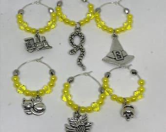 Set of 6 witch and wizard themed wine glas charms