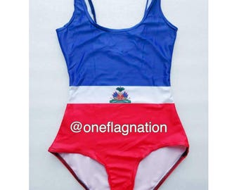 Haitian Flag One Piece Bathing Suit